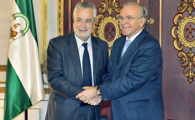 El presidente de la Junta de Andalucía, José Antonio Griñán, y el presidente de La Caixa, Isidro Fainé /EFE