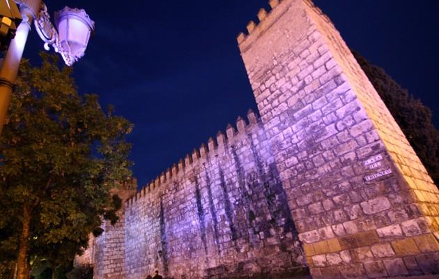 La muralla del Real Alcázar, azul
