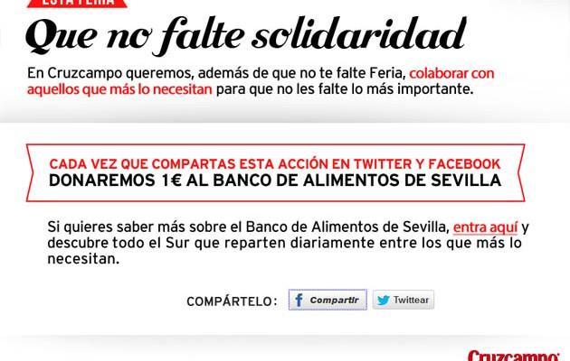Captura de la web de Cruzcampo con la campaña solidaria
