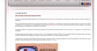 Captura del portal de la asociación sin ánimo de lucro Escuela Cultura de Paz