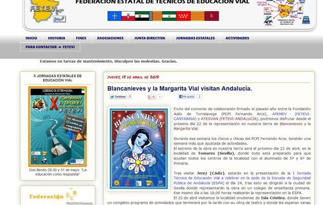 Captura del portal de la Federación Estatal de Técnicos de Educación Vial