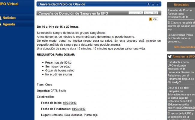 Captura del portal de la UPO