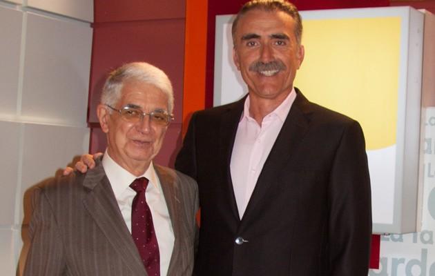 El presidente de la Federacion Andaluza de Bancos de Alimentos, Javier Peña junto al presentador Juan y Medio