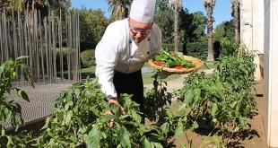 El chef Manuel Muñoz recoge pimentos del huerto / Silken Al-Andalus