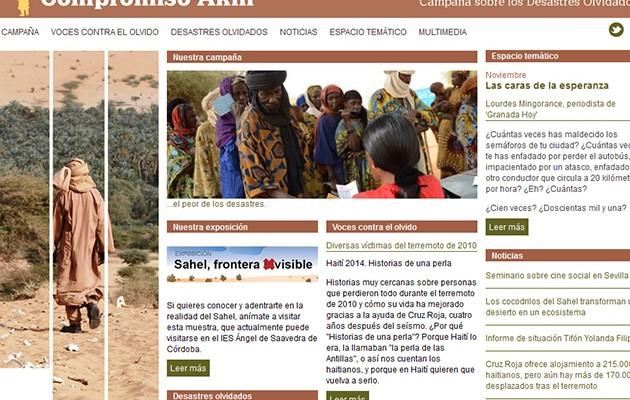 Web que engloba la actividades en la  Campaña de Sensibilización sobre Desastres Olvidados