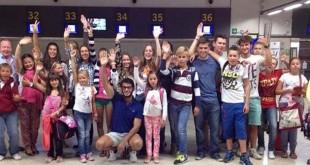 Los niños bielorrusos del Cachorro, en el aeropuerto de San Pablo / ABC