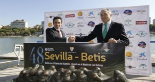 Presentación de la Regata Sevilla-Betis, en el Centro Especializado de Alto Rendimiento de la Cartuja. En la imagen, Rafael Gordillo y José María del Nido Carrasco. FOTO: Vanessa Gómez