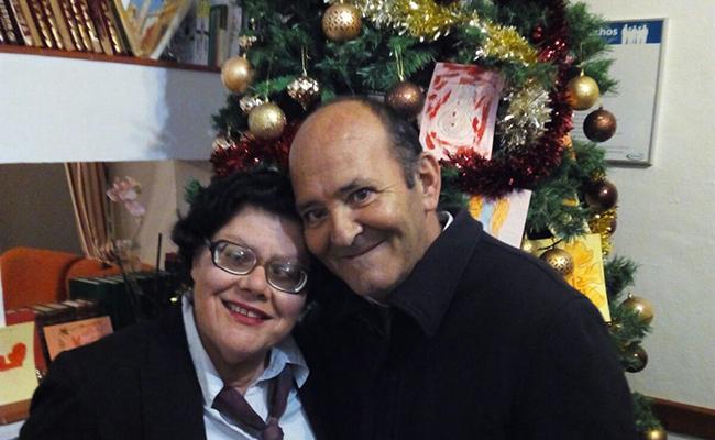 Miguel Almansa con una compañera el 31 de diciembre de 2016