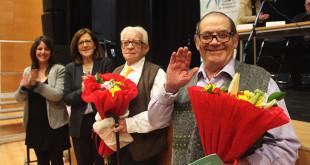 José Moreno y Juan González recogen su reconocimiento de manos de Emilia Barroso y Laura Álvarez / Fundación Montepíos