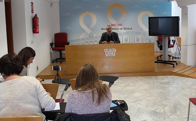 Juan Manuel Flores en la rueda de prensa / Ayuntamiento de Sevilla