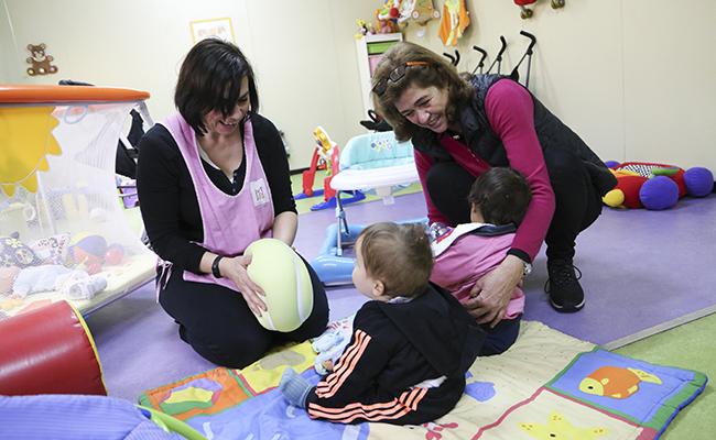 Bebé Benjumea, a la derecha, en la guardería Mari Ángeles / Foto: Rocío Ruz