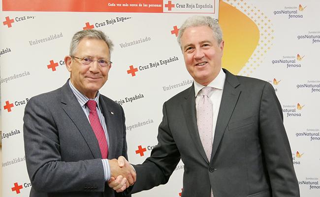 El presidente de Cruz Roja Española, Javier Senent y el vicepresidente de la Fundación Gas Natural Fenosa, Jordi García Tabernero