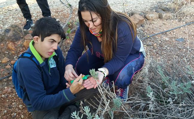 Tomasa, trabajadora de Apascide, explica a un usuario con sordoceguera cómo tratar el huerto / Apascide